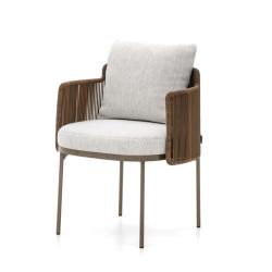 Chaise et petit fauteuil extérieur Minotti TAPE CORD OUTDOOR