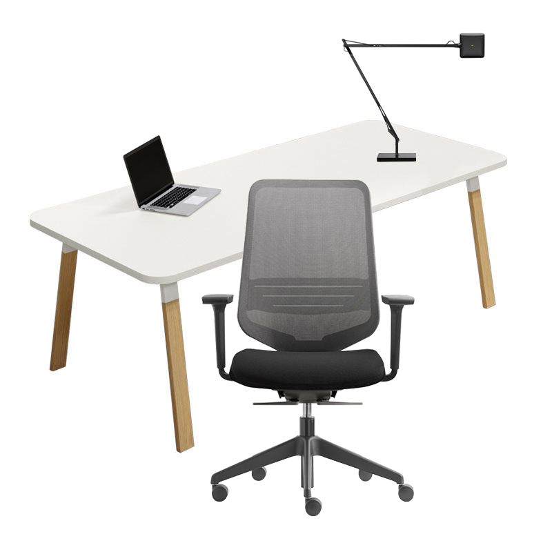 Pack Home Office  Pack bureau ATREO WOOD - fauteuil DOT.HOME - lampe KELVIN LED