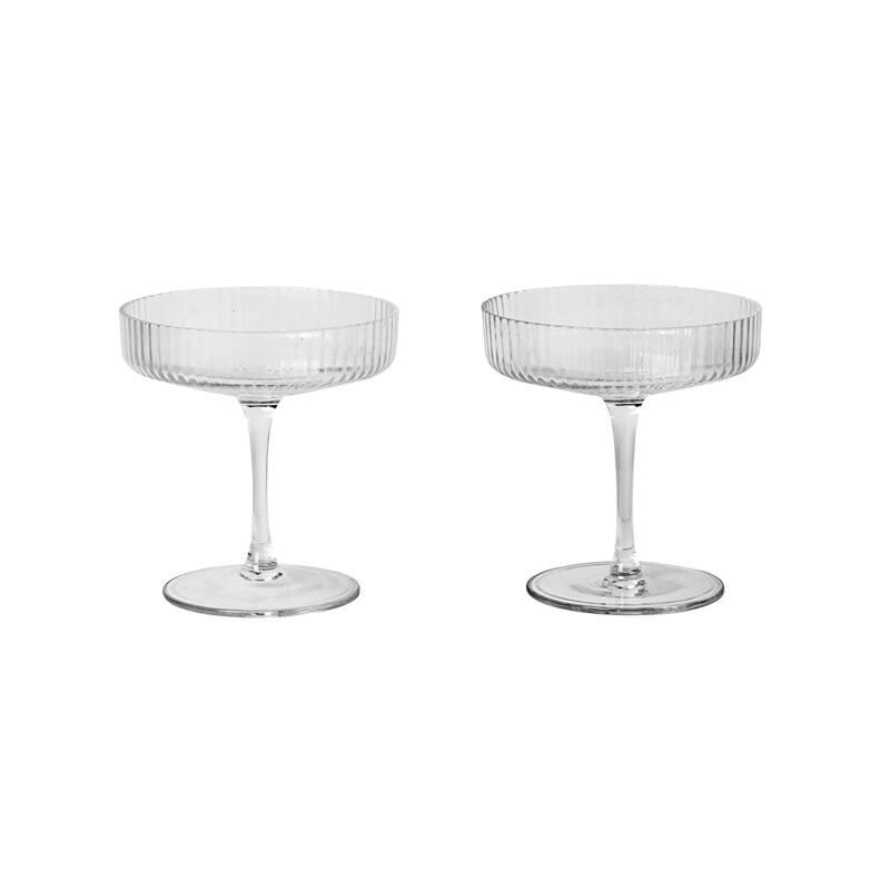 Carafe & verre Ferm living Set de 2 coupes à Champagne RIPPLE