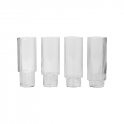 Carafe & verre Set de 4 verres long drik RIPPLE FERM LIVING