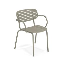 Chaise et petit fauteuil extérieur MOM avec accoudoirs EMU