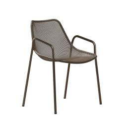 Chaise et petit fauteuil extérieur ROUND avec accoudoirs EMU