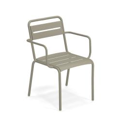 Chaise et petit fauteuil extérieur STAR avec accoudoirs EMU