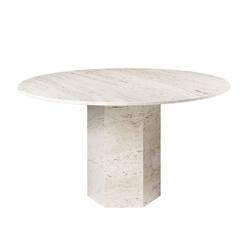 Table EPIC DINING Ø130 travertin blanc GUBI