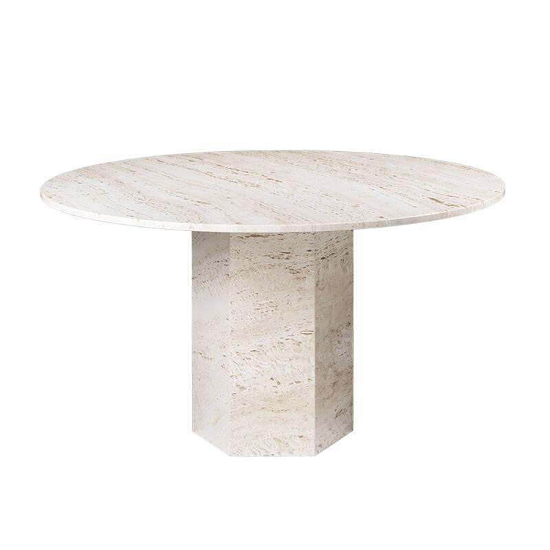 Table Gubi EPIC DINING Ø130 travertin blanc